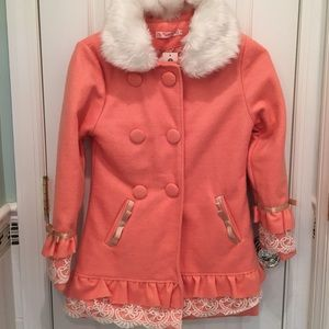 NWT Girls peach & lace coat